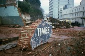 Site of the Otago Daily Times Building, Lower High Street, 1987. Hardwicke Knight photo.