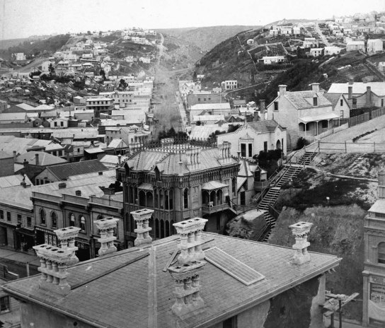 A contextual view. Note the Dowling Street steps where the land was excavated in the 1880s allowing the extension of the street. Photo: 1865. Alexander Turnbull Library. Ref: PAColl-3824-04.