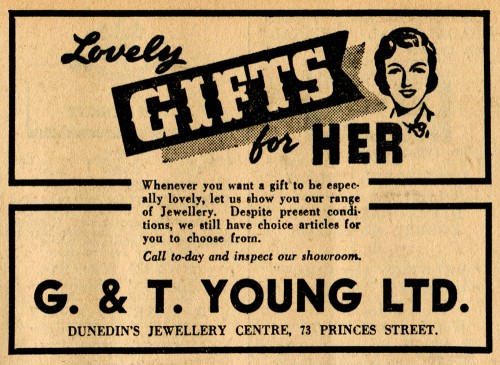 A wartime advertisement. Otago Daily Times, 27 April 1943 p.5.