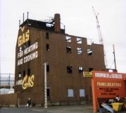 Vertical retort building, Dunedin Gasworks, Hillside Road, demolished 1989. Alan Pritchard photo.