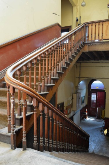 The wide main staircase was built with kauri timbers by William Bragg.