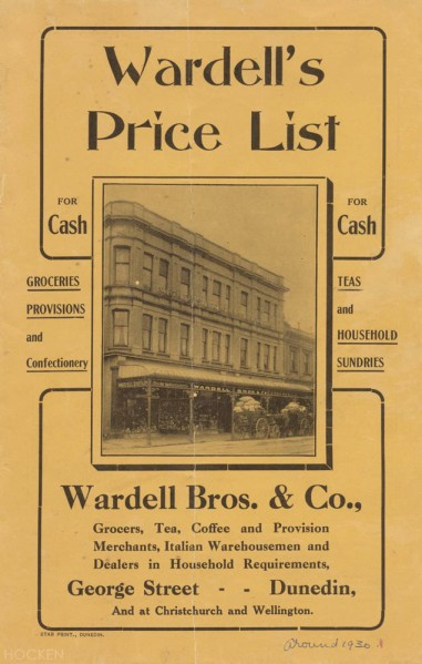A Wardell's price list from 1930. Ref: Hocken Collections MS-4076/001.