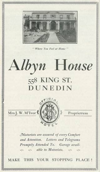 An advertisement from the Otago Motor Club annual, 1930.