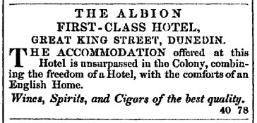 Advertisement from Otago Daily Times, 25 November 1861. Ref: Papers Past, National Library of New Zealand.