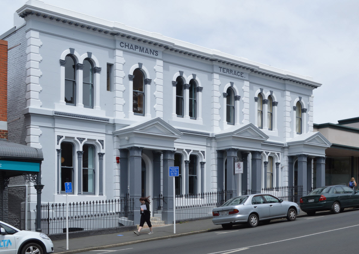 Stuart street built in dunedin for Terrace building