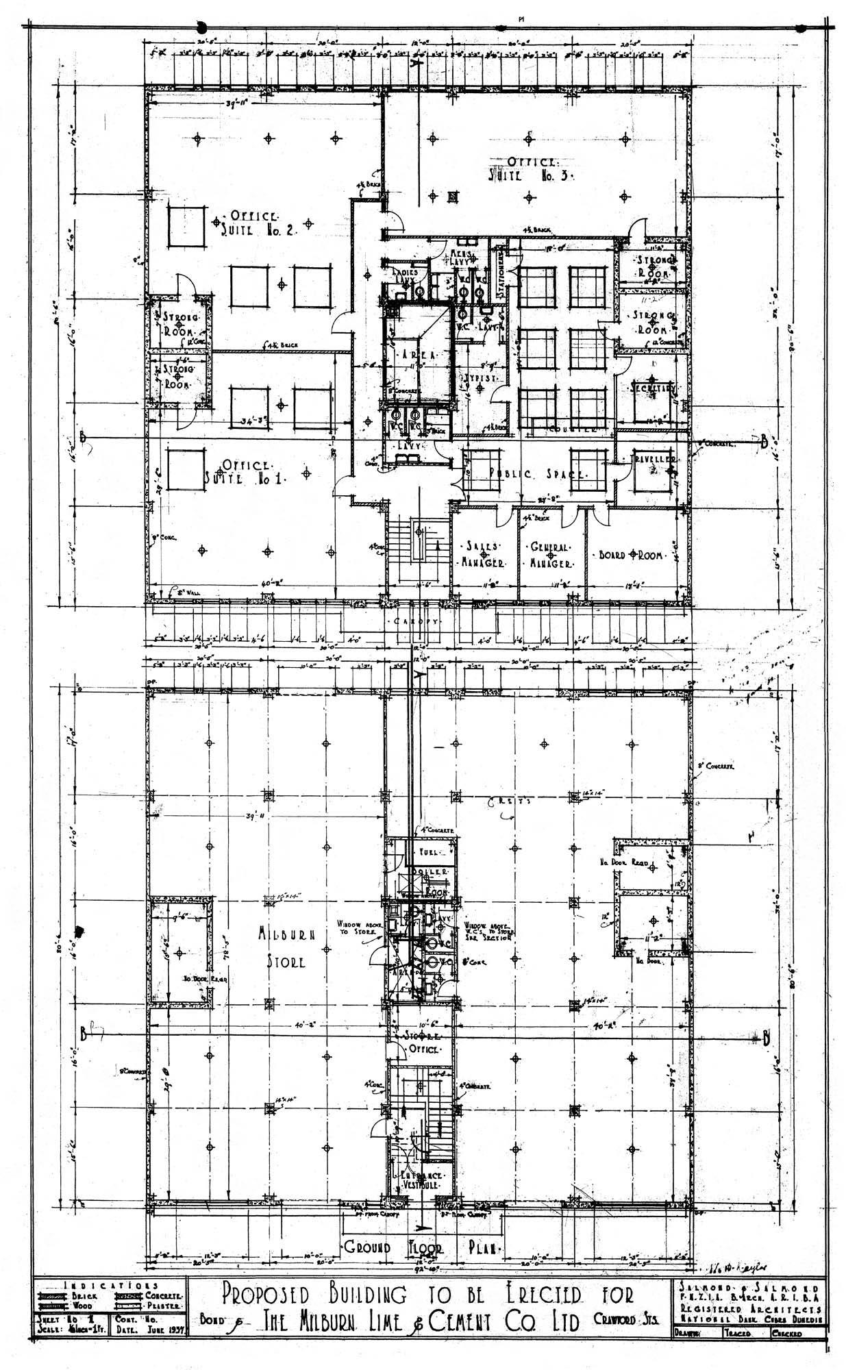 James Louis Salmond Built In Dunedin Rimu Schematic Floor Plans Dated June 1937